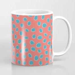 Living Coral and Turquoise, Teal Polka Dots Coffee Mug