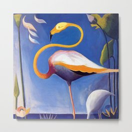 Flamingo and Egret with Lilies and Calla Lilies by Joseph Stella Metal Print