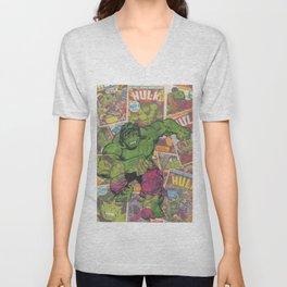 The Hulk Vintage Comic Art Unisex V-Neck