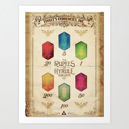 Legend of Zelda - The Rupees of Hyrule Kingdom Guide Art Print