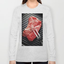 Marbled beef steak with meat fork  in a grill pan Long Sleeve T-shirt