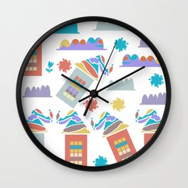 Houses pattern 23 Wall Clock