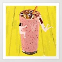 Strawberry Nuts Smoothie Art Print