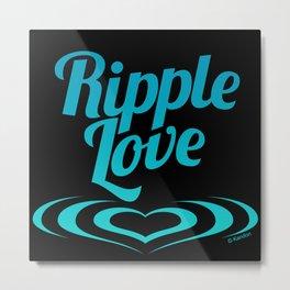 RIPPLE LOVE teal on black Metal Print