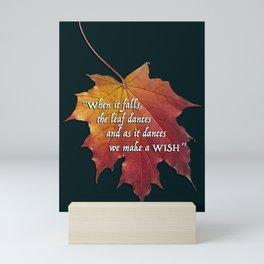 Autumn leaf - To make a wish Mini Art Print