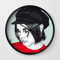 jack white Wall Clocks featuring JACK WHITE by Nuk_