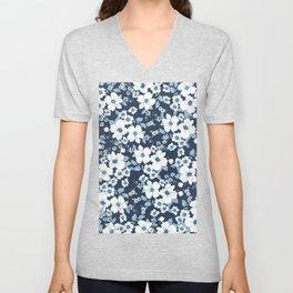 Elegant white navy blue pastel blue flowers Unisex V-Neck