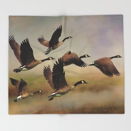 Geese On A Foggy Morning Throw Blanket