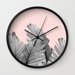 Blush Banana Leaves Dream #2 #tropical #decor #art #society6 Wall Clock