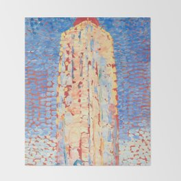 Lighthouse in Westkapelle by Piet Mondrian 1909 // Nautical and Costal Theme Colorful Decor Throw Blanket