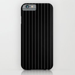 Dark Grey on Black Pinstripes | Vertical Thin Pinstripes | iPhone Case