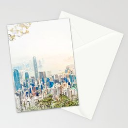 modern city skyline aerial view under sunrise and blue sky in Hong Kong, China Stationery Cards