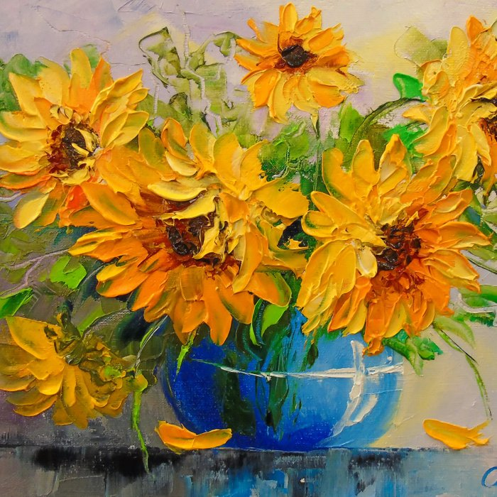Bouquet of sunflowers in a vase Comforters