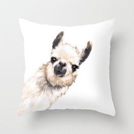 Sneaky Llama White Throw Pillow
