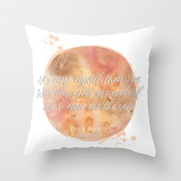 wuthering heights emily bronte quote watercolor Throw Pillow