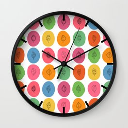 Leaf Blobs Pattern in Vibrant Colors Wall Clock