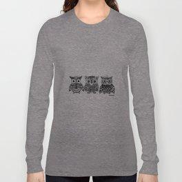 Zentangle Triptych Owl Fineliner Pen Drawing Long Sleeve T-shirt