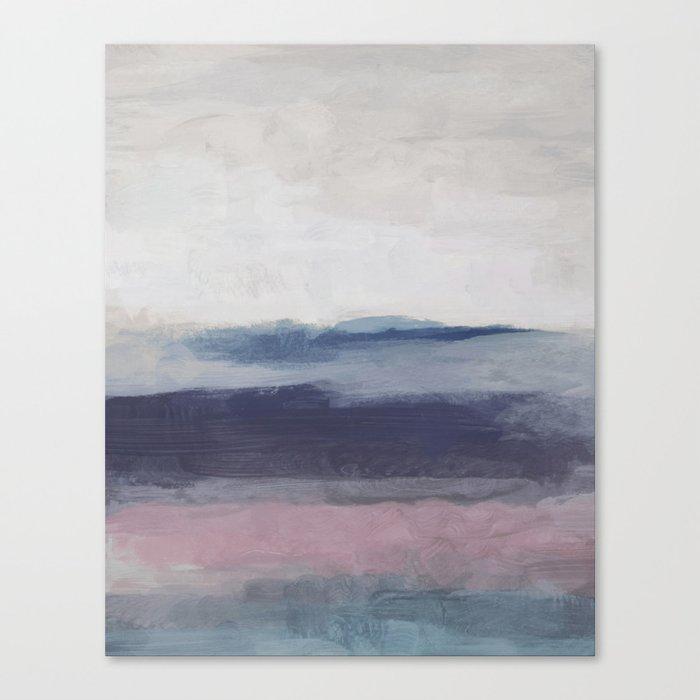 Plum Purple Navy Lavender Blue Abstract Painting Wall Art Prints Ocean Waves Horizon Modern Canvas Print