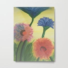 Flowers Original Painting Acrylic on Canvas Metal Print