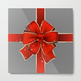 Red Bow on Silver Metal Print