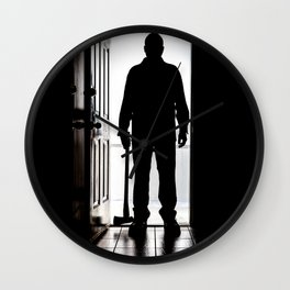 Bad Man at door in silhouette with axe Wall Clock