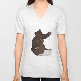Bear With Me Bro! Poster Unisex V-Neck