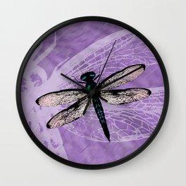 Blue dragonfly vector Wall Clock
