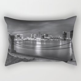Norfolk Skyline II in Black and White Rectangular Pillow