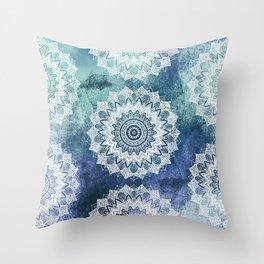 BOHOCHIC MANDALAS IN BLUE Throw Pillow