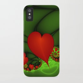 Dancing Red Hearts Fractal Art iPhone Case