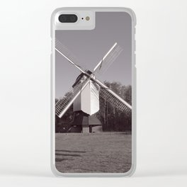 Monochrome windmill and inspirational quote Clear iPhone Case