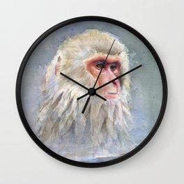 Snow Monkey Watercolor Animal Wall Clock