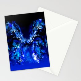 wolves hate monday splatter watercolor blue Stationery Cards