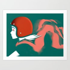 Moped Girl Art Print