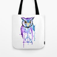 hedwig Tote Bags featuring Hedwig by Simona Borstnar