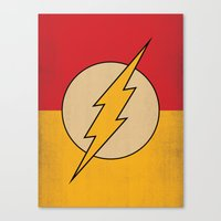 dc comics Canvas Prints featuring Flash Logo Minimalist Art Print DC Comics by The Retro Inc