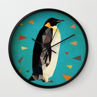 penguin Wall Clocks featuring penguin by gazonula