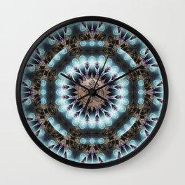 Om Shanti Fractal Geometry [ earthy aqua remix ] Wall Clock