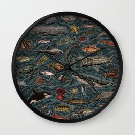 Sea & Ocean Life Maritime Pattern Wall Clock