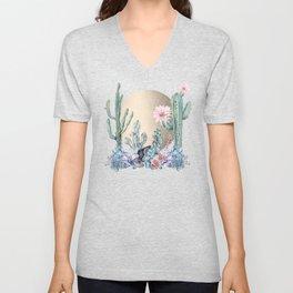 Desert Sun Cactus + Succulents Gold Deep Purple Unisex V-Neck