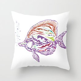 Purple Tropical Fish Throw Pillow