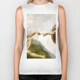 The Creation of Adam Painting by Michelangelo Sistine Chapel Biker Tank