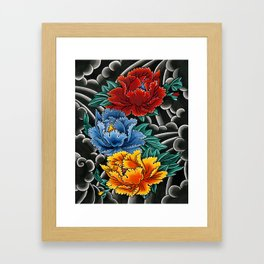 Japanese tattoo style Peonies  Framed Art Print