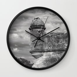 Castillo de San Marcos - black and white Wall Clock