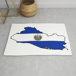 El Salvador Map with Salvadoran Flag Rug