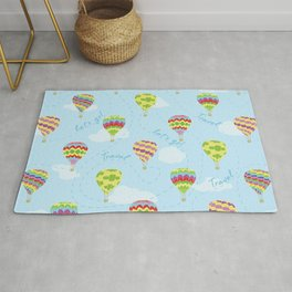Let's Go Travel Hot Air Balloons Pattern Rug