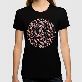 Spring Gardening - peach blossoms on mint T-shirt