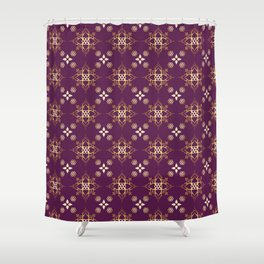 Indian Golden Art Lotus flower Mandala Pattern with Elegant Fuxia background color Shower Curtain