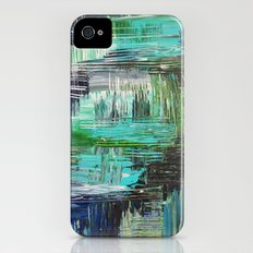 AQUATIC COMMOTION in Color - Textural Ocean Beach Nautical Abstract Acrylic Painting Wow Winter Xmas iPhone (4, 4s) Slim Case