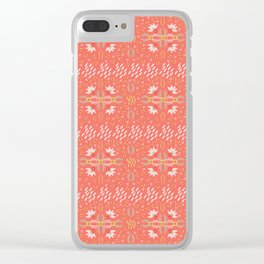 Coral Daisies Patchwork Cosy Homely Quilt Design Clear iPhone Case